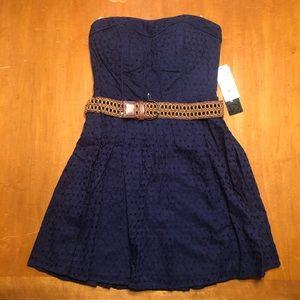 My Michelle Strapless Navy Blue Dress with Belt